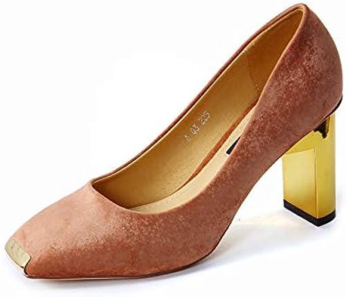FLYRCX Talons épais tête tête en métal avec Le tempéraHommest élégant Daim Bouche Peu Profonde Chaussures de Travail Les Les dames Chaussures Simples