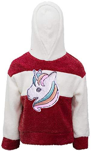 Unicornio Unicorn Caballo Chica Niños Teddy Forro Polar Sudadera de Felpa Lentejuelas Purpurina Blusa Camiseta Larga Sudadera Sudadera con Capucha Burdeos 104 cm-110 cm
