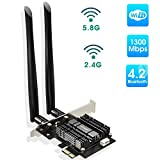 EDUP PCIe Bluetooth WiFi Card Ac1300Mbps Wireless Wi-Fi Network Card Adapter 2.4G/5.8G Dual Band Antenna PCI Express Internet Networking Cards Support Windows 10/ Win 8.1/ Win 7 for Desktop PC Laptop