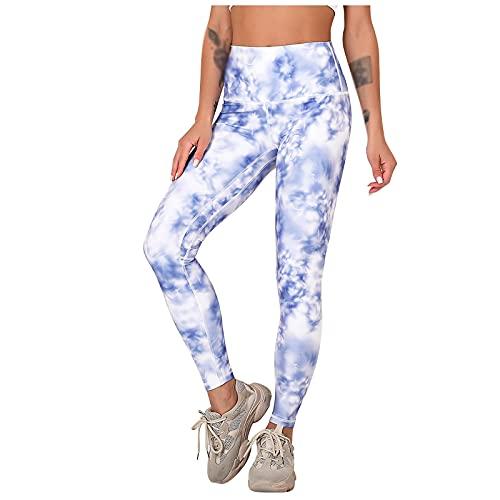 QTJY Pantalones de Yoga sin Costuras Estampados con teñido Anudado para Mujer, Ejercicios de Push-up y Mallas elásticas de Cintura Alta para Fitness IL