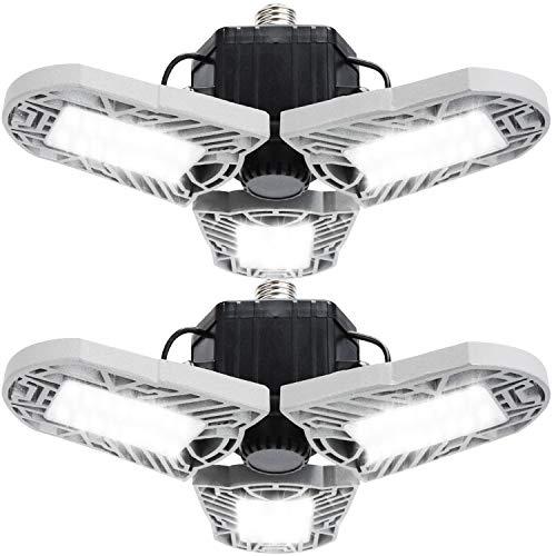 2 Pack LED Garage Lights, Deformable LED Garage Ceiling Lights 60W, E26 Garage Light LED High Bay 6000K Daylight, 6000LM Super Bright LED Shop Lights for Garage/Basement (Gray)