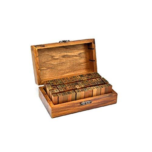MICHAELA BLAKE Lettere Alfabeto francobolli d'Epoca in Legno Timbro Lettera Numero Set Stamper Seal Set di Capitale Inferiore Caso Vintage Box