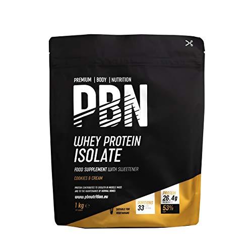 PBN - Premium Body Nutrition - Protéines en poudre à base d'isolat de lactosérum (Whey-ISOLAT), goût cookies et crème, 33doses, 1kg