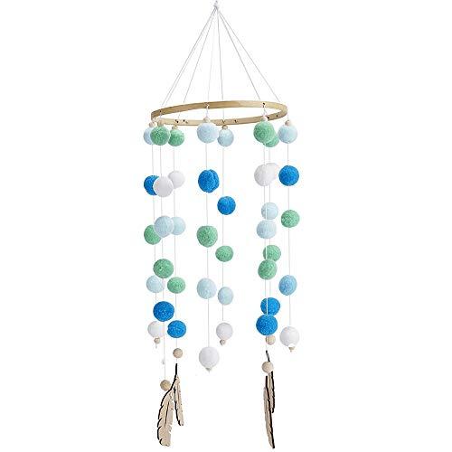 Babybett Mobile Windspiel Rassel Spielzeug aus Filz Ball und Bambus, Neugeborenen Kinderzimmer hängende Bettglocke, Holz Ornament Geschenk für Baby Mädchen oder Jungen