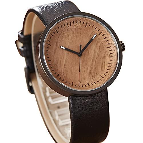 Newest Classy Wood Watch Men Women Wooden Wristwatch Cowhide Leather Strap Mens Lady Sports Quartz Watch Clock TYPE2Black
