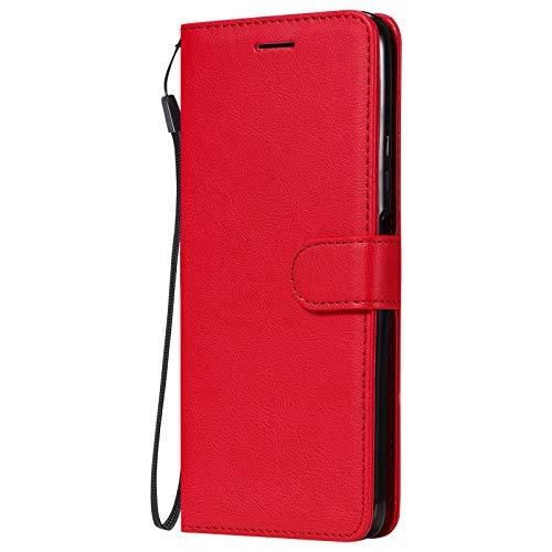 Hülle für Huawei Enjoy20 5G Hülle Leder,[Kartenfach & Standfunktion] Flip Case Lederhülle Schutzhülle für Huawei Enjoy20 5G - EYKT052357 Rot