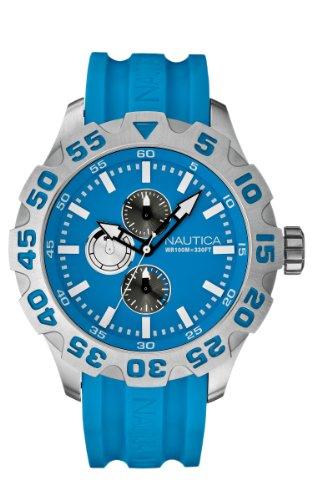 Nautica A15579G - Reloj analógico de Cuarzo para Hombre, Correa de Silicona Color Azul
