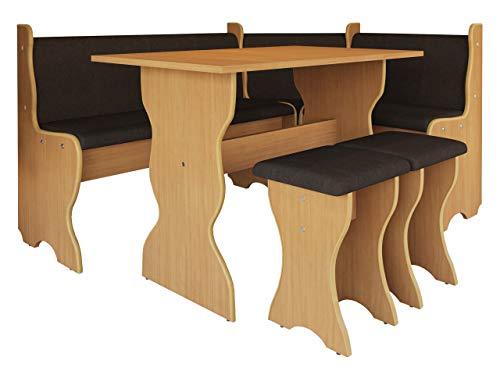 Mirjan24 Eckbankgruppe Thomas, Eckbank Gruppe besteht aus Kücheneckbank, Tisch, 2X Hocker, Esszimmer Sitzbank (Buche + Alfa 09)