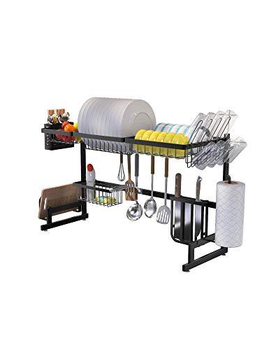 Escurridor de platos, estante de almacenamiento de cocina de acero inoxidable, fregadero, platos, organizador de estantes