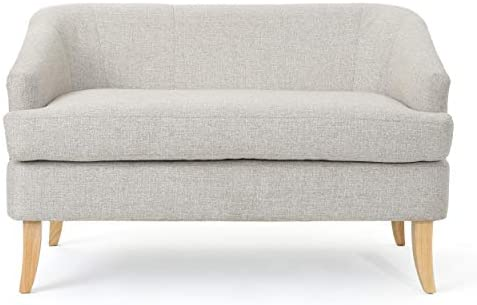 Best Christopher Knight Home Sheena Mid-Century Modern Fabric Loveseat, Beige / Natural