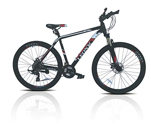 LEONX 27.5 Wheels Aluminium Alloy Mountain Bike Suspension Mens Bicycle 24 Gears Dual Disc Brake with Hydraulic Lock Out Fork & Hidden Cable Design Frame MTB