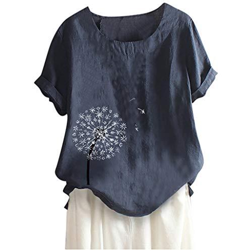 WGNNAA Damen Mode Leinen Blusen Blumen Drucken Kurzarmshirt Große Größen Hemd Freizeit Tunika Oberteil Locker Hemd Shirts M-5XL