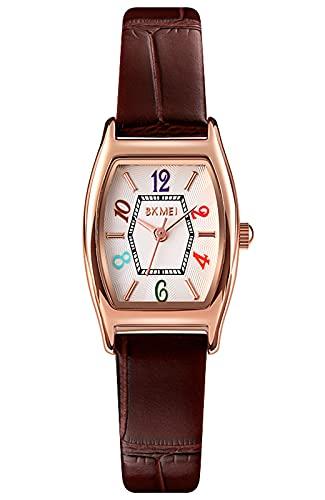Reloj Mujer Elegante Minimalista Relojes de Pulsera Analógico de Cuarzo Resistente al Agua Relojes Numeros Grandes para Mujer (Marrón)