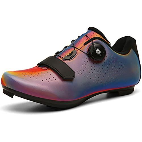 YQSHOES Zapatillas Ciclismo para Hombre Mujer Compatibles con Zapatillas SPD Delta Cleat Zapatillas Bicicleta Carretera para Interiores Exteriores,Colorful a,41EU/8UK/8.5US