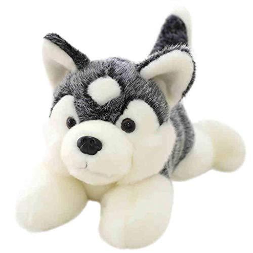 HJHJK Tier liebenswert Husky weichen Plüschtiere realistische Hund mit beschreibbaren Welpen Namensschild einzigartiges Geschenk for Kinder oder Haustiere, (Size : 55CM)