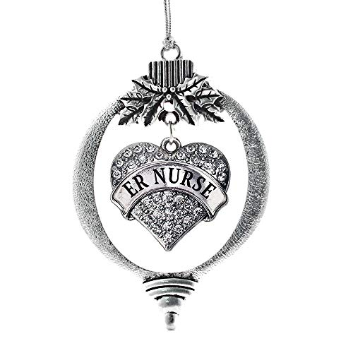 Inspired Silver - ER Nurse Charm Ornament - Silver Pave Heart Charm Holiday Ornaments with Cubic Zirconia Jewelry