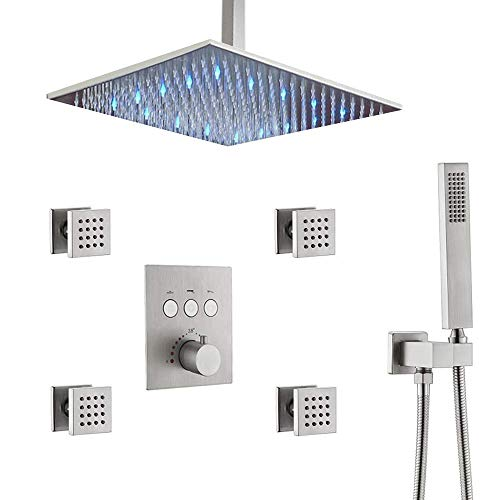 """Brushed Nickel 12"""" LED Rain Shower Head System with Body Sprays, Thermostatic Bathroom Faucet Ceiling Shower Mixer Handheld Combo (Allows Multiple Heads to Function At a Time)"""