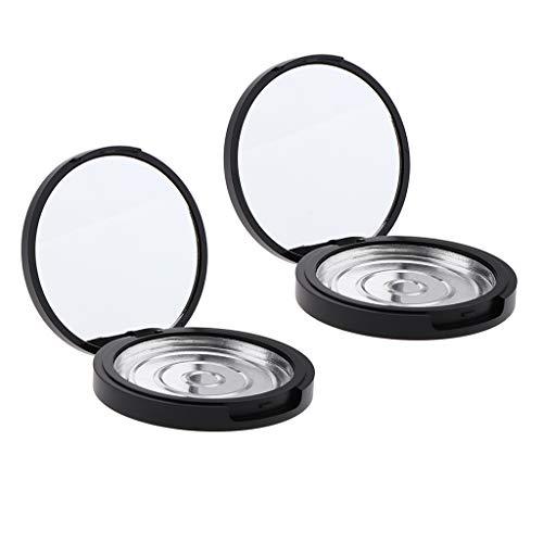 perfeclan 2x Portable Boite Poudre Puff Vide Maquillage Cosmétique Cas avec Miroir Conteneurs Bocaux pour Maison et Voyage