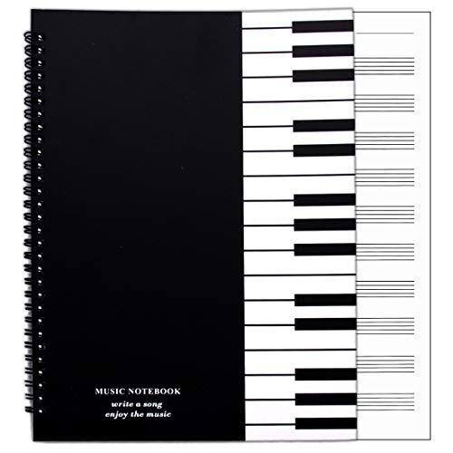 Notenheft Komposition Manuskript, 50 Blatt / 100 Seiten, DIN A4 / 285 x 210 mm, 10 Notensysteme pro Seite, Spiralgelochte Gebundenes, Dickes Notenbuch ideal für Musikunterricht und Musikkünstler
