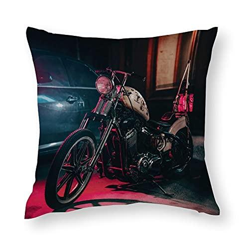Fodera per Cuscino Federe Cartone Moto Harley retrò Modello Cuscini per Cuscino copricuscini Divano Caso Federa per Cuscino da Letto Decorazione Interna24'×24'(60x60cm)