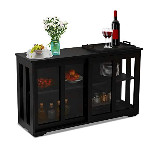 Depointer Life Kitchen Storage Sideboard Dining Buffet Server Cabinet Cupboard, Free Standing Storage Chest with 2 sliding glass doors and Adjustable Shelves Open Shelf for Kitchen,Bedroom,Dining Room