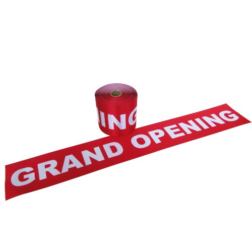 """6"""" Wide Red with White Letters - GRAND OPENING Ribbon for Ceremonial Ribbon Cutting Ceremony - 5 Yards"""