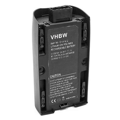 vhbw Litio-polimeri Batteria 3100mAh (11.1V) per Drone multicopter quadrocopter Parrot Bebop 2