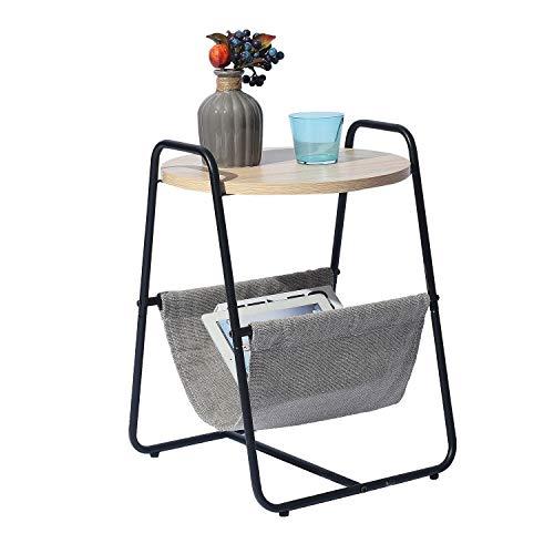Homybec Redonda con Bandeja de Almacenamiento de Tela, Mesa Auxiliar con Estructura de Metal y Tablero de Madera, 40 x 40 x 50 cm