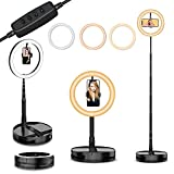"""10' Selfie Ring Light with Stand and Phone Holder,Foldable Makeup Light 19.7' - 66"""" Stretchable Portable Selfie Desk Fill Light for Indoor Outdoor Live Stream/Makeup/YouTube Video/Photography/Vlog"""