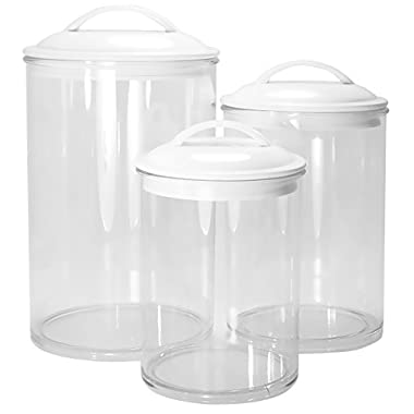 Calypso Basics by Reston Lloyd Acrylic Storage Canisters, Set of 3, White