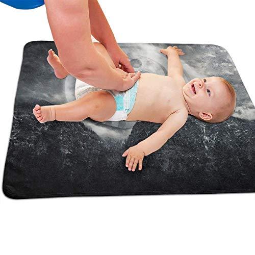 Zcfhike Cambiador de pañales portátil Yin Yang Wolf para bebé, Cambiador de pañales 31.5 Pulgadas x 25.5 Pulgadas
