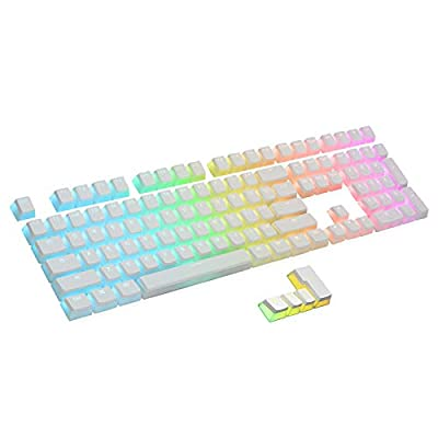 RK ROYAL KLUDGE 112 Double Shot PBT Pudding Keycaps, OEM Profile ANSI ISO Layout Keycap Set with Translucent Layer for Mechanical Keyboard, White