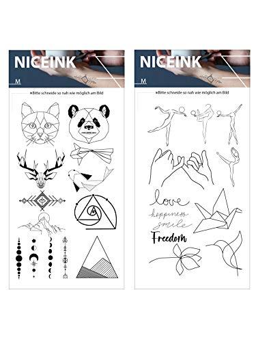 NICEINK Temporäre Fake Tattoos zum Aufkleben auf die Haut, Arm, Schulter, 25 Motive für Festivals, Parties, Selfies