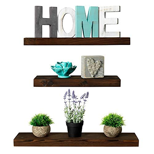 Rustic Farmhouse 3 Tier Floating Wood Shelf - Floating Wall Shelves (Set of 3), Hardware and Fasteners Included (Dark Walnut, 3 Tier)