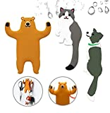 3pcs Kids Wall Hooks Adhesive-Cute Animal Decorative Wall Hooks-Reusable Waterproof Hooks for Hanging Towel,Keys,Hat and More in Bathroom Bedroom Nursery Kitchen (Brown Bear+cat+Black Dog)
