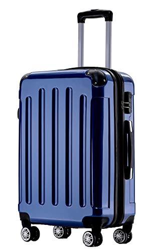 BEIBYE Hartschalen Koffer Trolley Rollkoffer Reisekoffer 4 Zwillingsrollen Polycabonat (Blau, Handgepäck 55cm-40L)