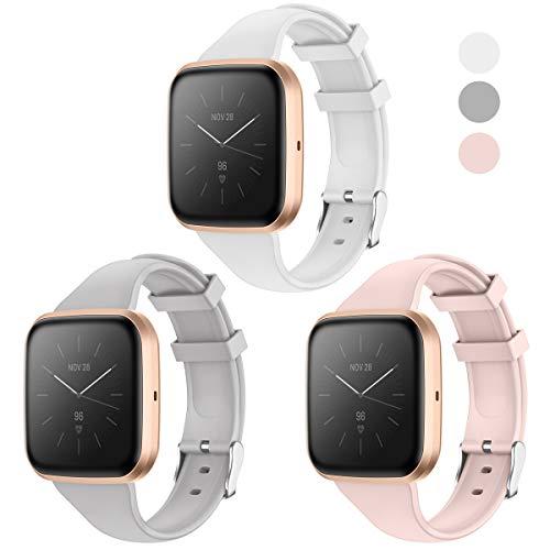 KIMILAR Armband Kompatibel mit Fitbit Versa/Versa 2 /Versa Lite/SE Armbänder Silikon, Schlank Ersatzband Uhrenarmband für Versa Special Edition Smartwatch -Sand Pink/Grau/Weiß, L