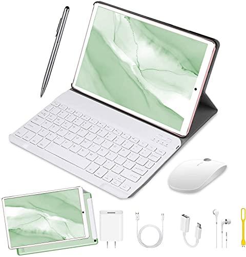 DUODUOGO Tablet 10 Pulgadas Baratas y Buenas 4GB RAM 64GB ROM Android 9.0 Pie Tablet PC 2 en 1 con Teclado y Mouse Quad-Core Dual SIM Buenas Tabletas de función de Llamada 4G 8000mAh