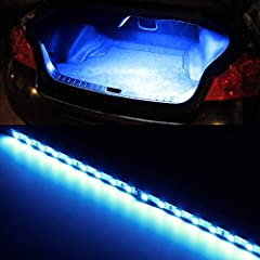 One piece rigid LED circuit board strip, powered by 18-piece ultra blue SMD LED diodes Come with (2) universal bulb fitment adapters to work with pretty much any car SUV trunk or cargo area OEM lamp socket 12-inch wider lighting illumination area, mu...