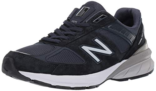 New Balance Women's Made 990 V5 Sneaker, Navy/Silver, 9 M US