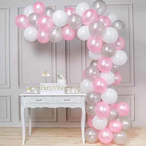 PuTwo Luftballons 12 Zoll 100 Stück Rosa Weiß Grau Luftballons Helium Luftballons Latex Luftballon Helium Ballons Partydeko Taufe Dekoration Geburtstag Dekoration - Rosa, Weiß, Grau