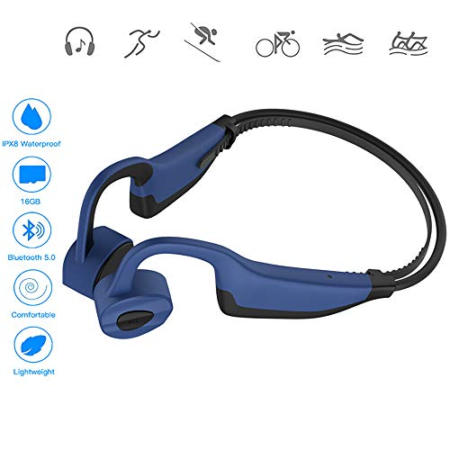 XWY Sports Bone Conduction Waterproof Mp3 Player, Conduction Bluetooth 5.0 with 16GB MP3 Player IPX8 Waterproof Swimming Outdoor Fitness Sport,B