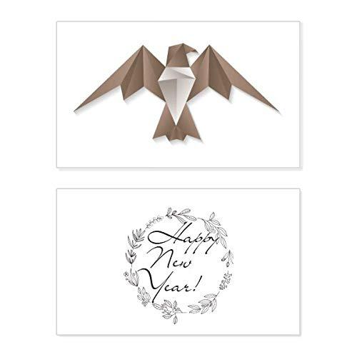 Geometric Abstract Eagle Origami Pattern - Tarjeta conmemorativa de año nuevo con mensaje de bendición