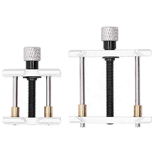 Luroze Soporte de Movimiento de Reloj, 2 Piezas Profesional Metal Acero Extensible Reversible Base del Soporte de la Caja del Reloj, Ver Herramienta de reparación para relojero Taller de Reparaciones