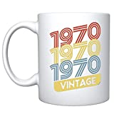Veracco 1970 1970 1970 Vintage Ceramic Coffee Mug 50th Birthday Gift For Him Her Fifty and Fabulous (1970, White)