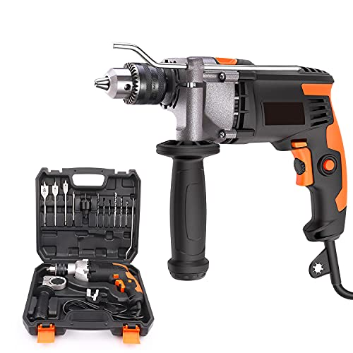 Hammer Drill, 7.5A,3000 RPM Corded Drill with 15 Drill Bit Set,Carrying Case, rotatable Handle, Aluminum Shell, Hammer and Drill 2 Mode in 1,Corded Impact Drill Tool for DIY Projects-PID03B