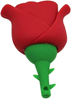 Yghfd Pen Drive Cartoon Red Rose 16GB 32 Flower USB Flash Drive Memory Stick Pendrive (Capacity : 16GB, Color : Red)