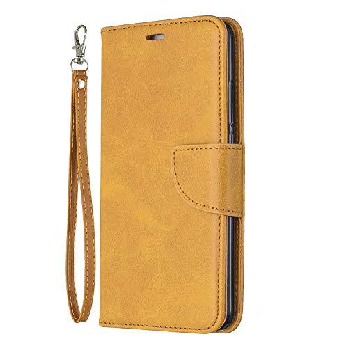 Lomogo Huawei Y7 / Y7 Prime Hülle Leder, Schutzhülle Brieftasche mit Kartenfach Klappbar Magnetverschluss Stoßfest Kratzfest Handyhülle Case für Huawei Y7 / Y7 Prime - LOBFE150412 Gelb
