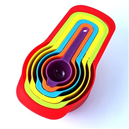 Herramientas para hornear 6 unids color plástico cucharas de medición de bricolaje apilable combinación de cúpulas de medición accesorios de cocina herramientas para hornear