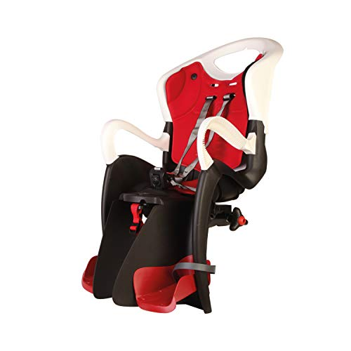 b bellelli Tiger - Seggiolino Posteriore per Bicicletta - per Bambini Fino a 22 kg, da 3 a 8 Anni - Si Fissa al Portapacchi - Bianco e Rosso